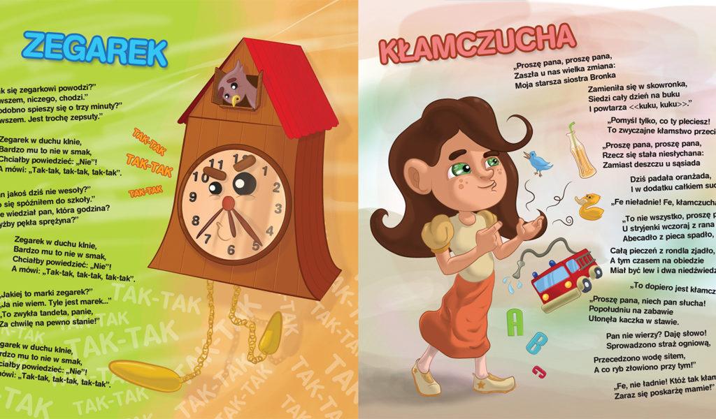 Ilustracje do wierszy Jana Brzechwy do książeczki dla dzieci.