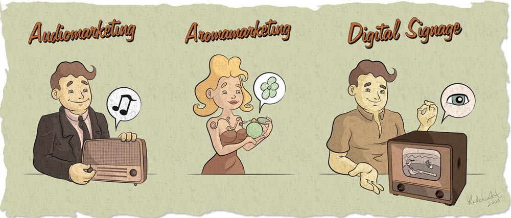 Trzy ilustracje dla IMS do spotu video. Stylizowane na amerykański sen w Fallout'owych klimatach.