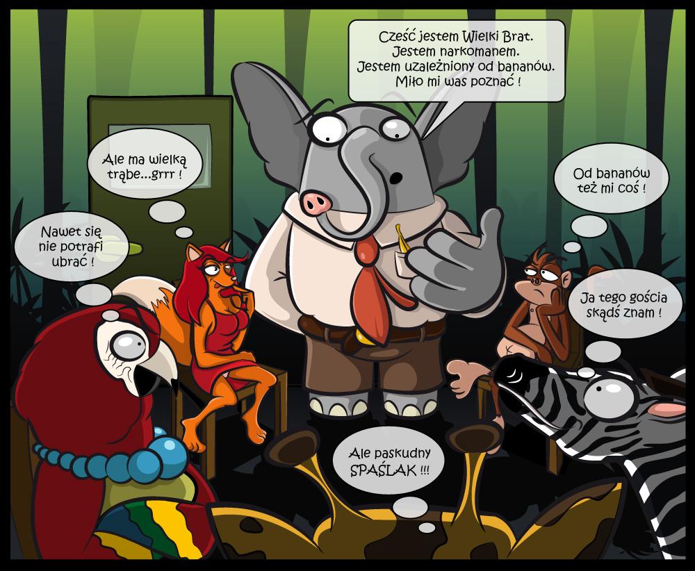 """Terapia - Ilustracja do artykułu na konkurs. Słoń po odwyku wróci do lasu Słoń, karmiony przez przemytników bananami z heroiną, z powrotem trafi do naturalnego środowiska po zakończeniu terapii odwykowej metadonem - podał chiński dziennik """"China Daily"""". """"Wielki Brat"""", jak nazwano słonia, żył sobie spokojnie w swoim stadzie w pobliżu chińsko-birmańskiej granicy w prowincji Yunnan. W 2005 roku schwytali go nielegalni handlarze. Żeby prowadził stado tam, gdzie chcieli, karmili go bananami z heroiną - pisze gazeta. Handlarzy złapano, kiedy usiłowali sprzedać """"Wielkiego Brata"""", który do tej pory popadł w nałóg i zaczął stanowić niebezpieczeństwo dla ludzi, którzy odmawiali mu narkotyku - napisała gazeta, powołując się na policję...(onet)"""