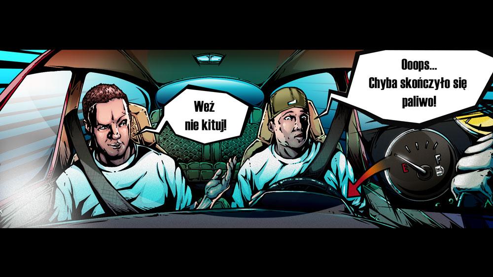 Ilustracja w komiksowej stylistyce do teledysku Pokahontaz