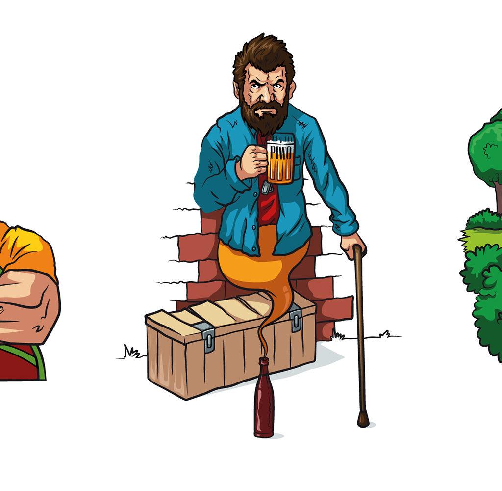 3 ilustracje dla Browar Sady.
