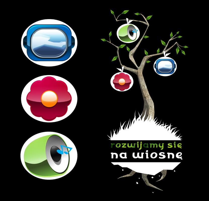 Symbole reprezentujące trzy usługi - Digital Signage, Aromamarketing i Audiomarketing zaprojektowane dla IMS. Docelowo do plakatu video.