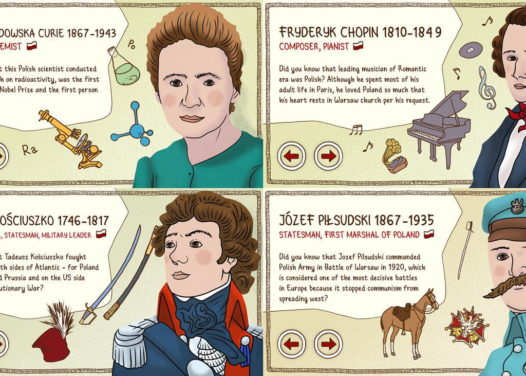 4 z 12 ilustracji wykonanych dla IMS do aplikacji dotykowej.