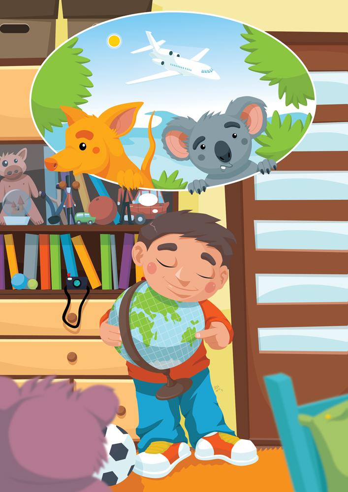 """Jedna z kilkunastu ilustracja do książeczki dla dzieci """"Zaczarowany Bumerang"""" dla wydawnictwa MJ DISTRIBUTION GROUP"""