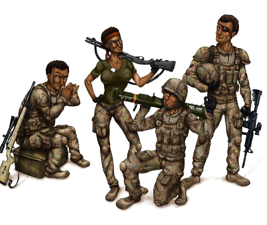 """Postaci żołnierzy do gry typu MMO """"Game Shooter"""""""