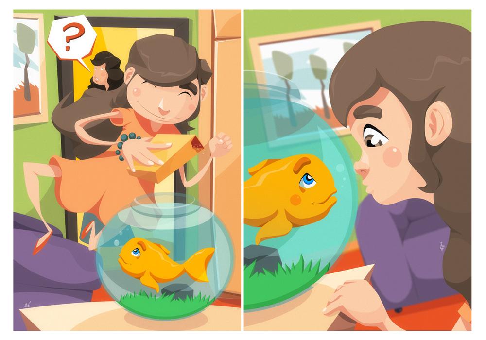 2 z 18 ilustracji do książeczki dla dzieci.