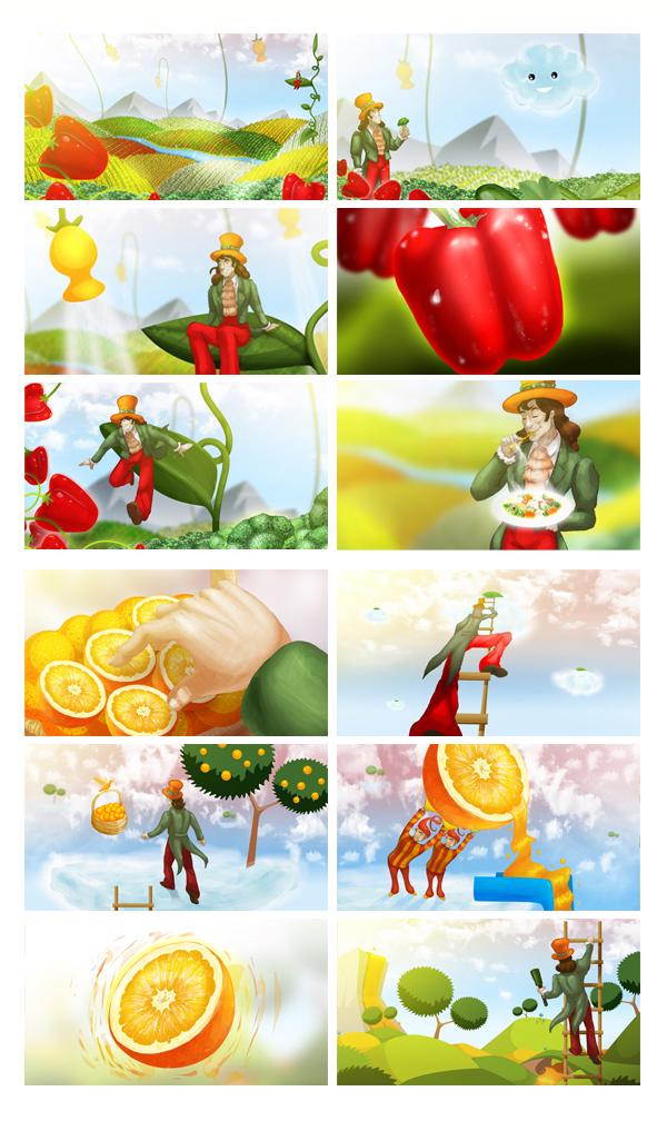 Storyboardy dla EURO RSCG pod animatic. Projekt obejmował 37 ilustracji podobnej jakości, przy założeniu czasowym 3 dni.