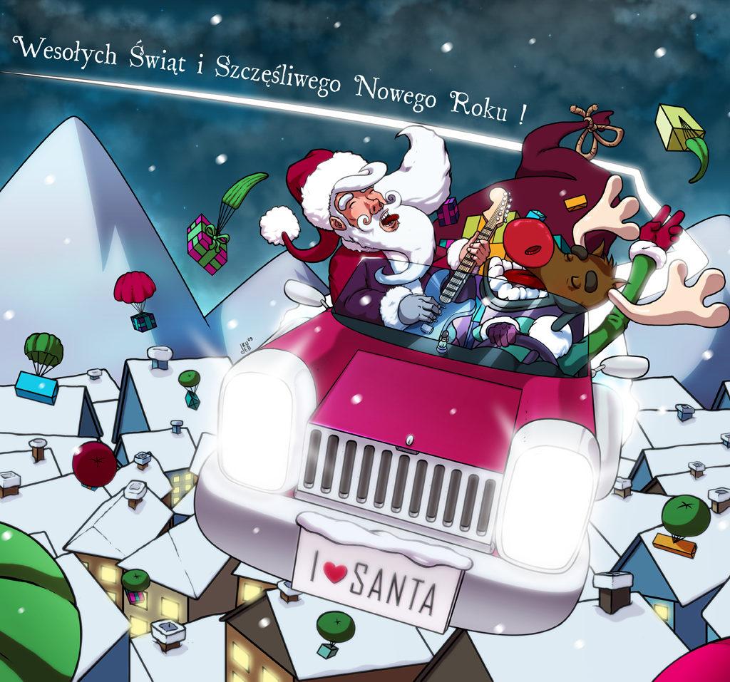 Ilustracja na front obwoluty płyty z muzyką świąteczną.