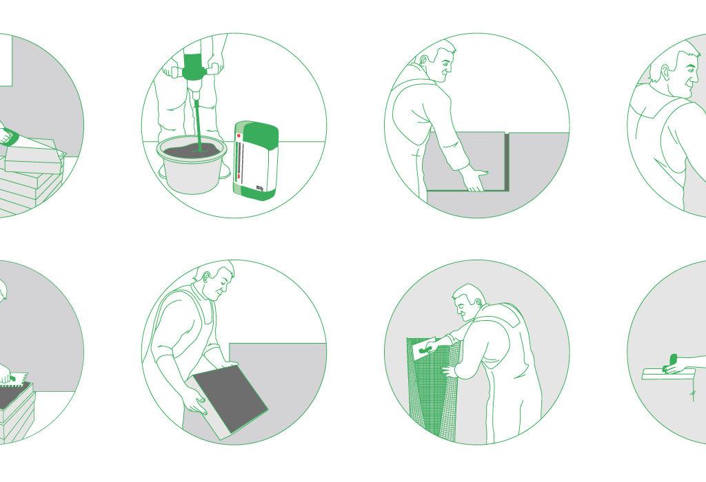 Ilustracje o tematyce budowlanej do ulotki dla ProArtica.
