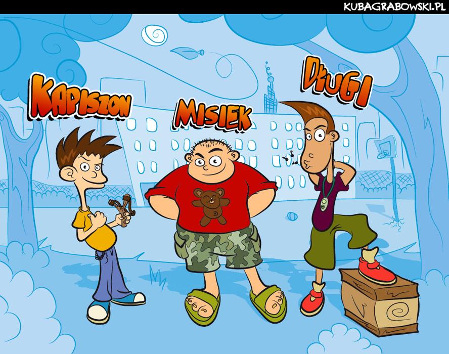 Chłopaki - koncepcje postaci do pasków komiksowych dla Kubusia (soczek)