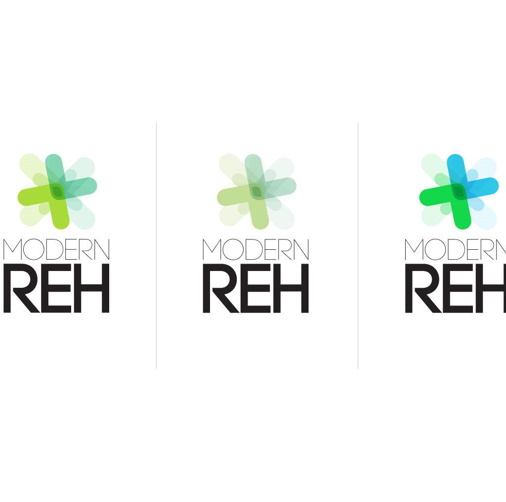 Modern Reh - logotyp dla klinki rehabilitacyjnej. Trzy warianty kolorystyczne.
