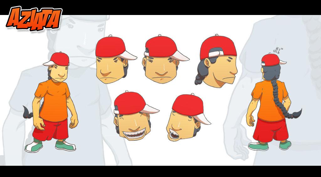 Koncept postaci Azjaty na potrzeby animacji.