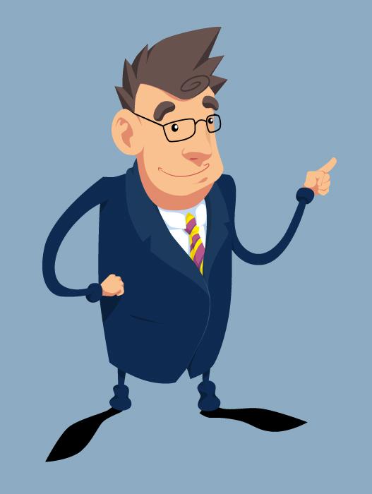 Bankier - koncept postaci do animacji dla IMS.