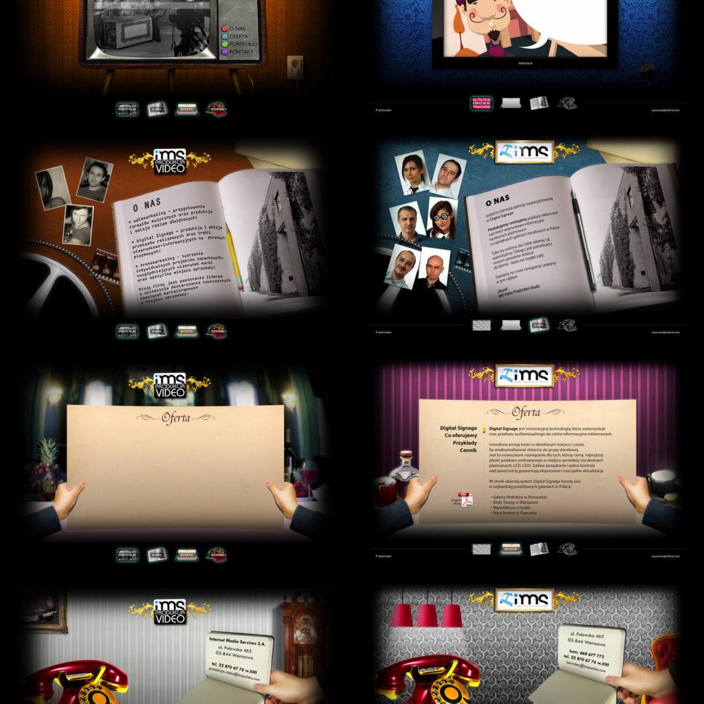 Projekt strony działu produkcji video dla IMS. Po lewej wersja wstępna, po prawej wersja ostateczna. Poza projektem byłem również odpowiedzialny za programowanie we Flashu.