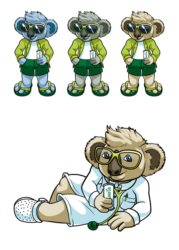 Koncept postaci dla Koala Drink.