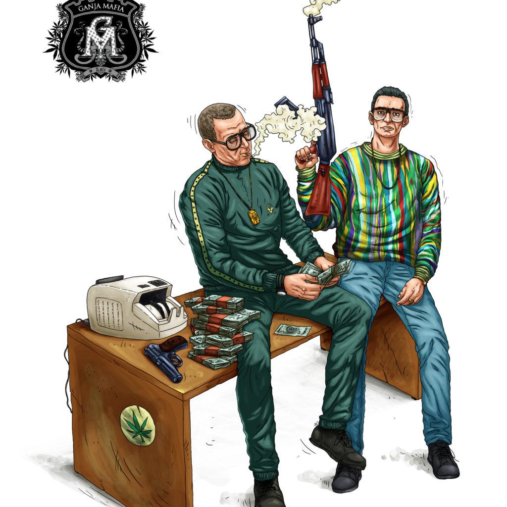 Ilustracja do wydruku na płótnie dla Ganja Mafia.