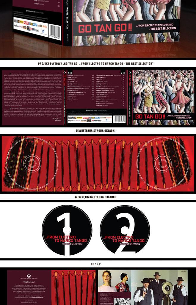 """Projekt płyty """"Go Tan Go !!, ...From Electro To Narco Tango - The Best Selection"""". Wydawcą jest Warner Music Poland."""