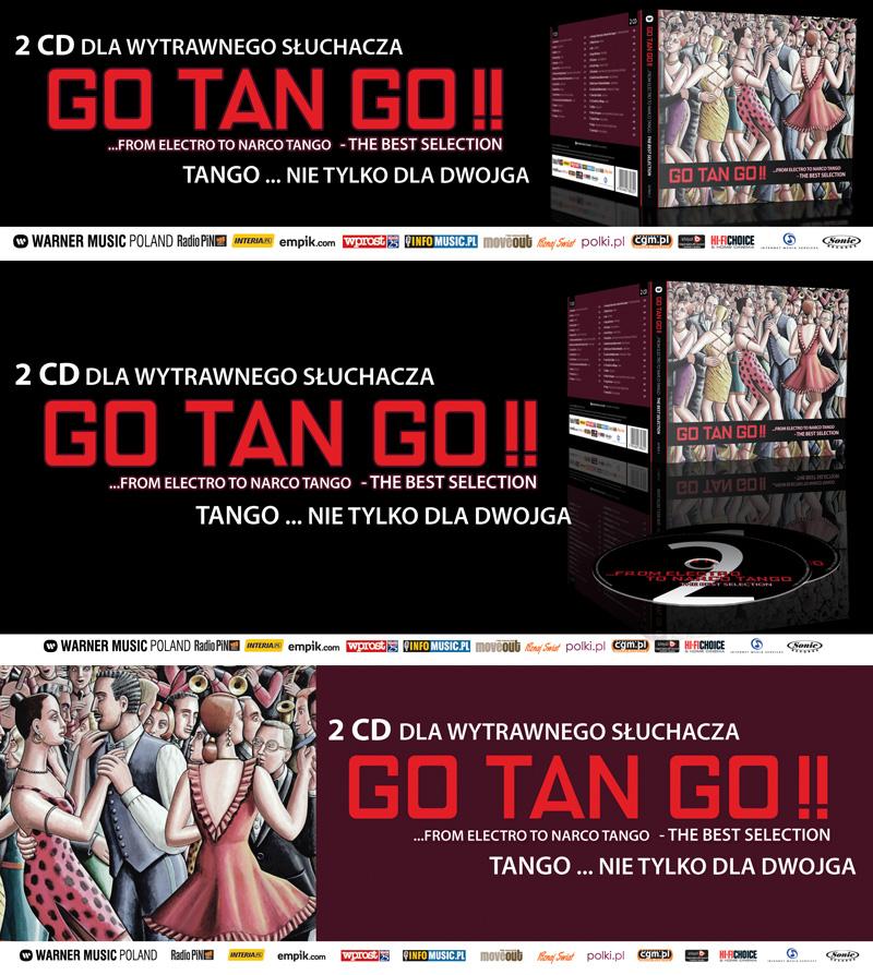 """3 reklamy prasowe płyty """"Go Tan GO !!"""" dla Warner Music Poland."""