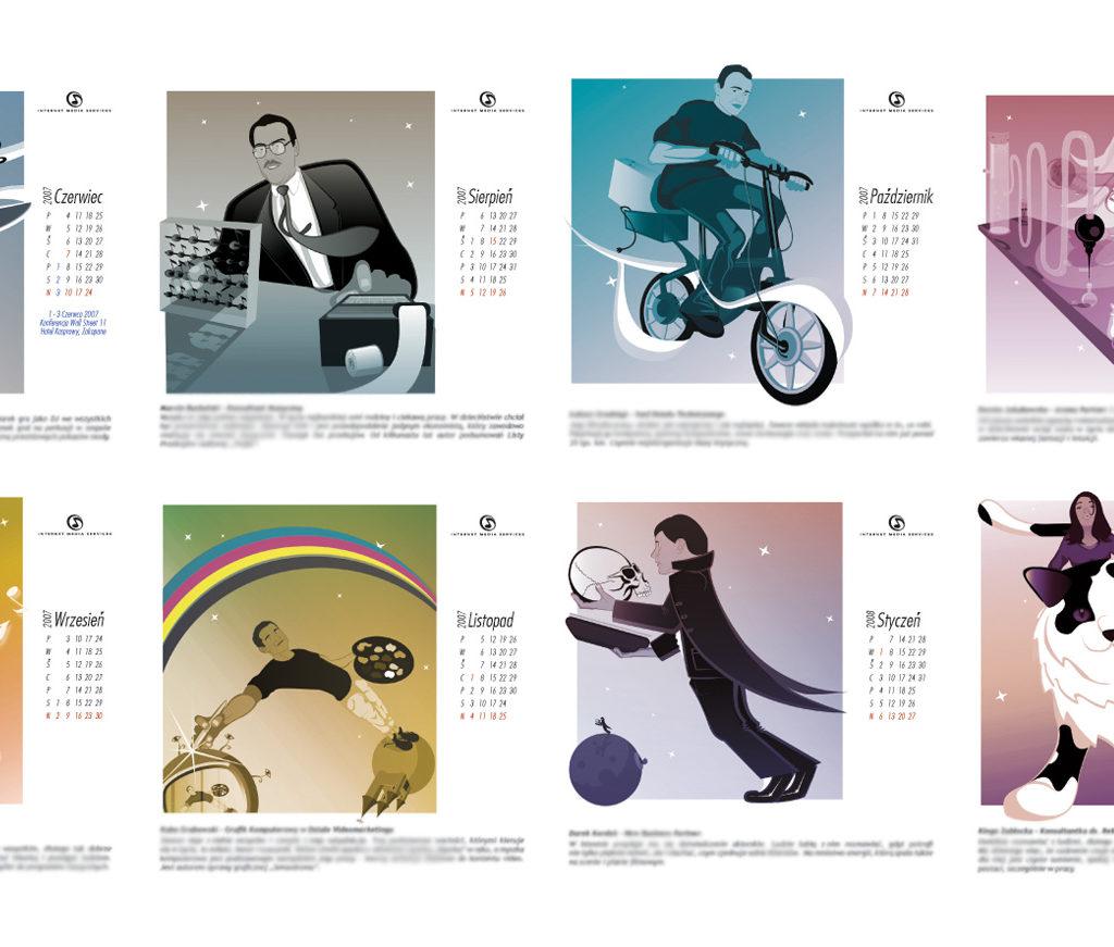 Kalendarz na biurko z płytą dla IMS. Odpowiedzialny byłem za ilustracje oraz skład. Kalendarz powstał w 2006 roku.