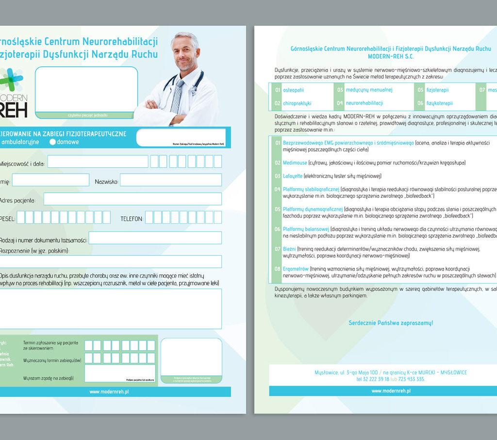 Modern Reh - projekt karty pacjenta.