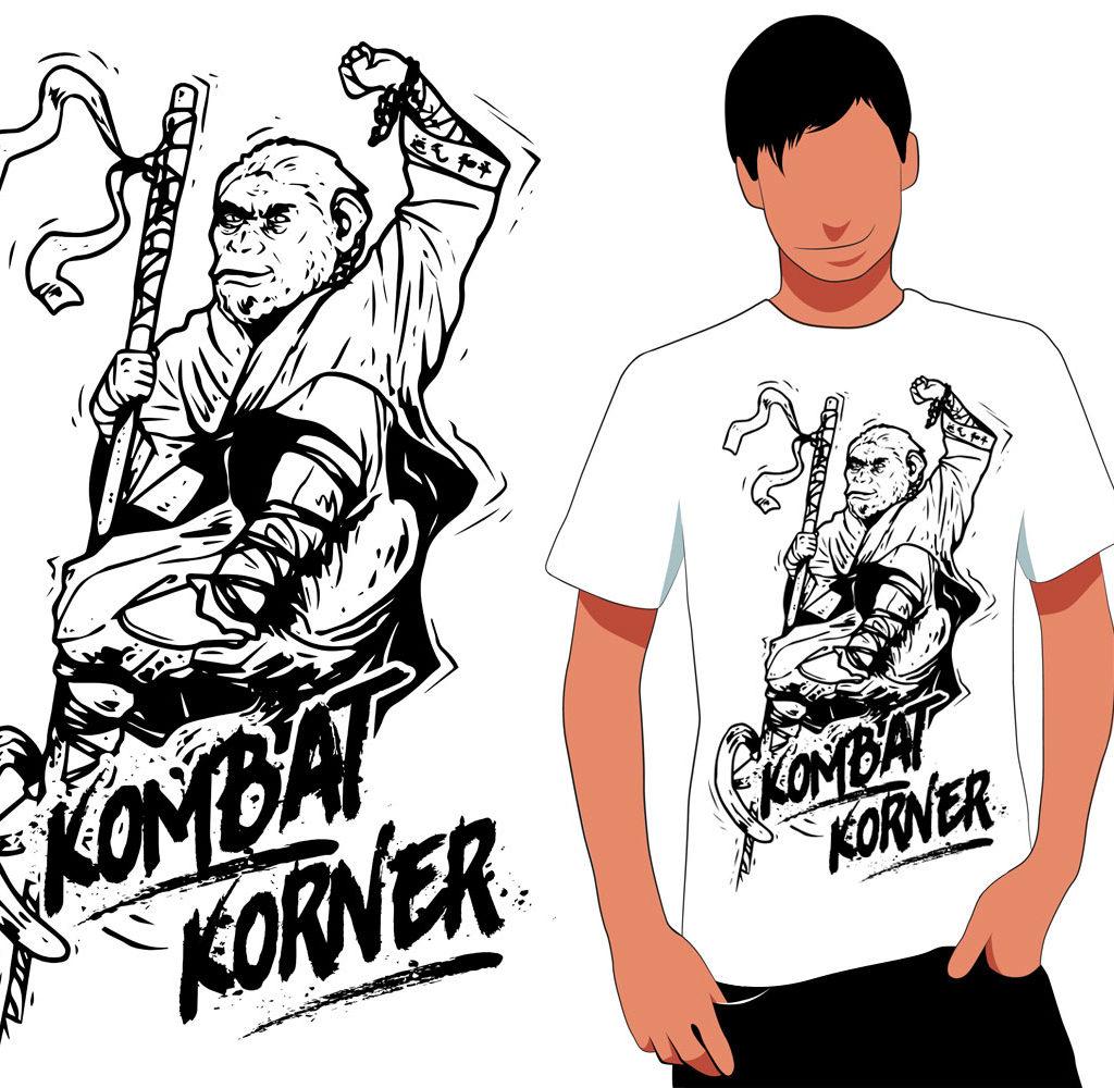 Projekt nadruku na koszulkę dla Kombat Korner (audycja w Radio Zagłębie).