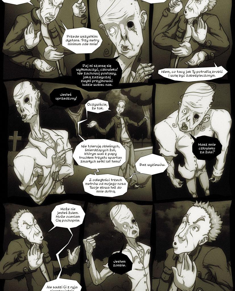 Przygody Leszka - Zombie też człowiek. Scenariusz - Dominik Szcześniak. Strona 3/6.