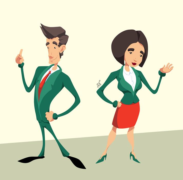 Pracownicy banku - koncepty postaci do animacji dla IMS.