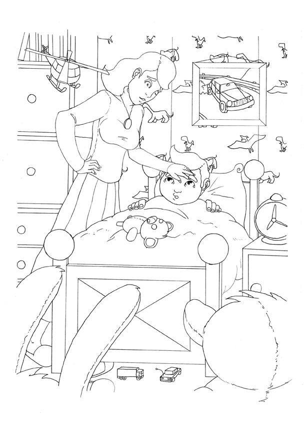 Malwin - szkic ilustracji do książeczki dla dzieci.