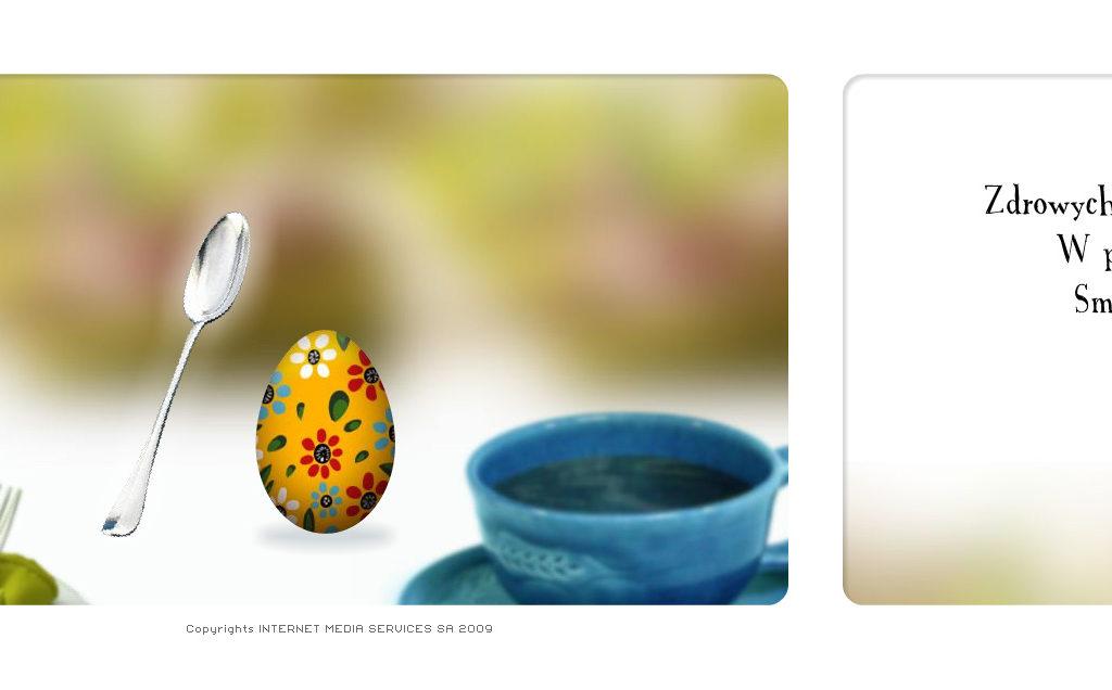 Interaktywna kartka na Wielkanoc dla IMS. Patrząc od lewej - 1) Zaproszenie z hiperlinkiem dodawane do maila 2 i 3) kadry z interaktywnej animacji.