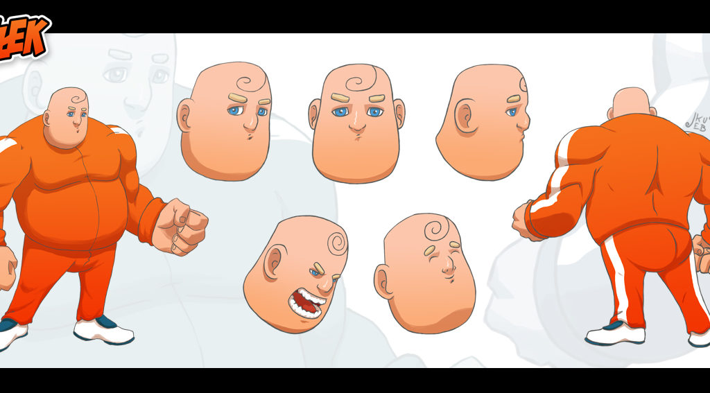 Koncept postaci osiłka na potrzeby animacji.