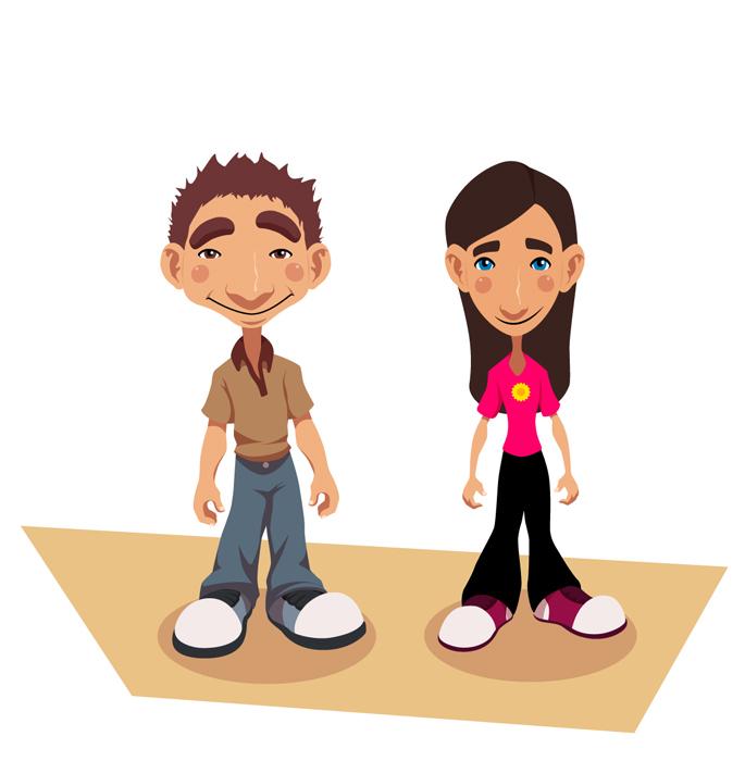 Paweł i Agatka - koncepty postaci do animacji.