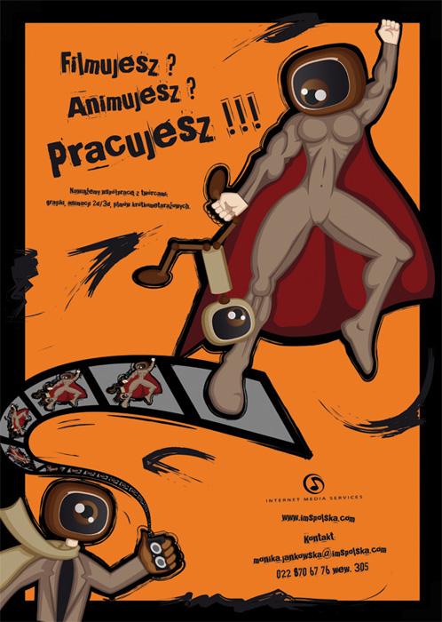 Plakat zachęcający do współpracy animatorów i filmowców (twórców filmów krótkometrażowych) dla IMS.