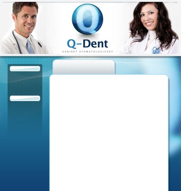 Projekt tła strony gabinetu dentystycznego Qdent, na silniku WordPress.