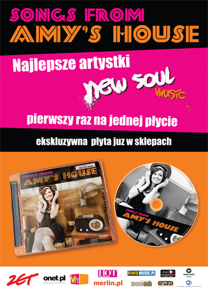 "Plakat promujący płytę ""Songs From Amy's House"" dla Warner Music Poland."