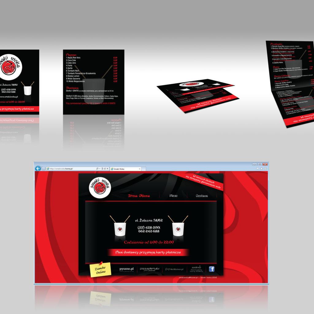 Projekt ulotki i prostej strony www dla Smaki Woka.