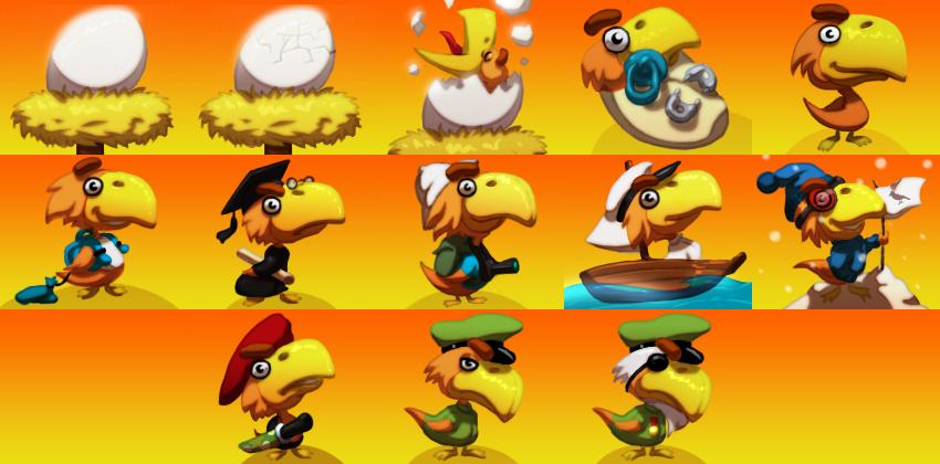 Ptaki/Avatary symbolizujące rozwój użytkownika dla serwisu - Szeptak.pl