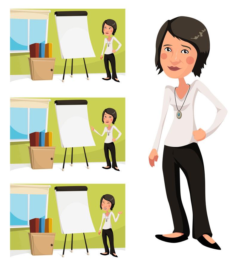 Koncept postaci do kursów e-learningowych dla firmy Omnis.