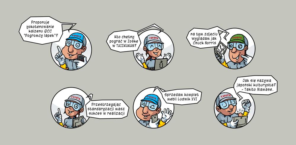 Jedno okienkowe komiksy dla Charakter Consulting - docelowo Toyota.