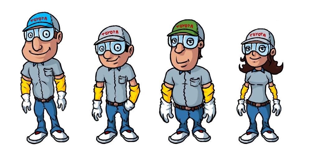 Koncepty postaci pracówników dla Charakter Consulting - docelowo Toyota.
