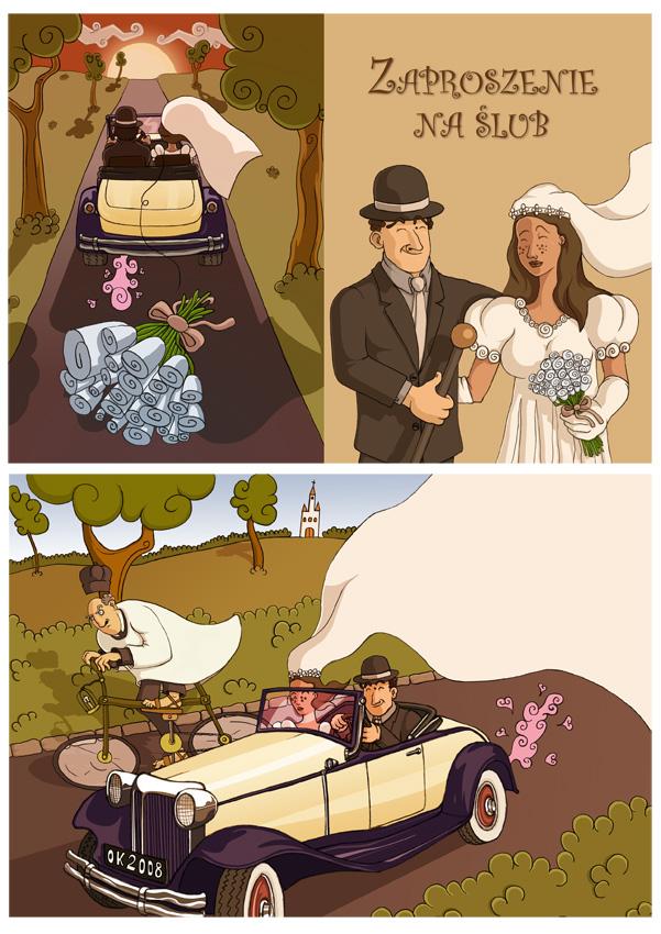 Projekt zaproszenia na ślub.
