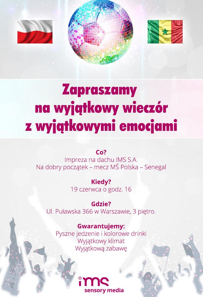 Projekt zaproszenia e-mail na imprezę dla IMS.