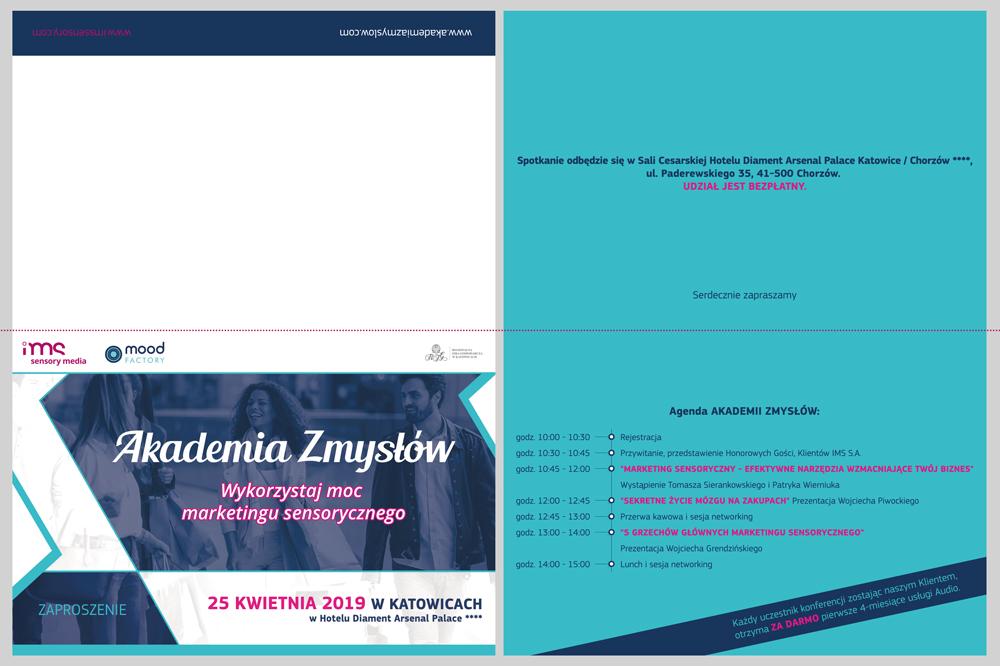 Akademia Zmysłów - zaproszenie drukowane dla IMS S.A.