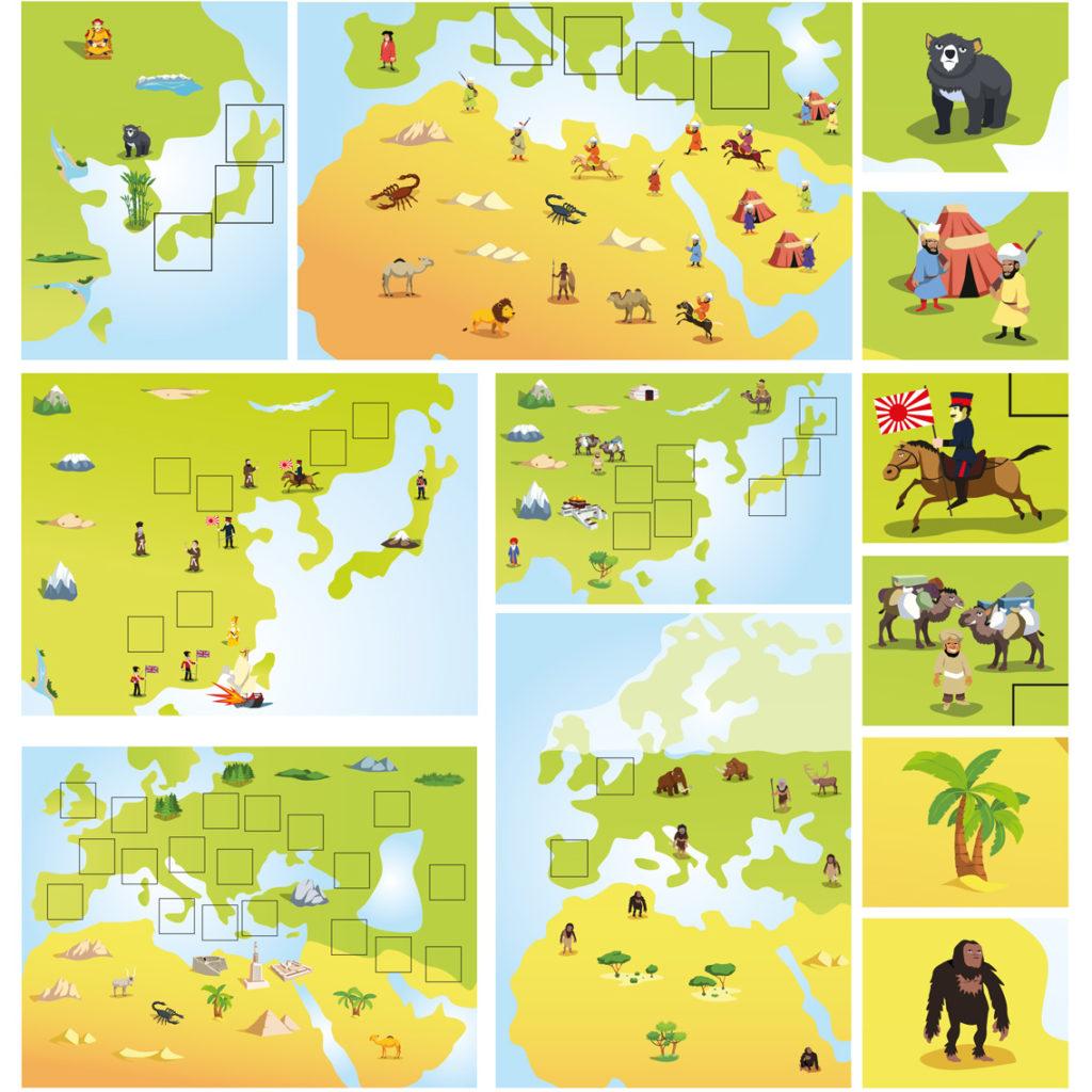 Ilustrowane mapy do książeczki dla dzieci, dla wydawnictwa Dragon.